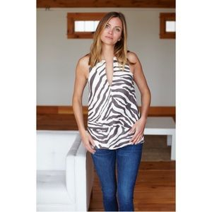 Emerson Fry A Line Mod Top in Pewter Zebra Sz M